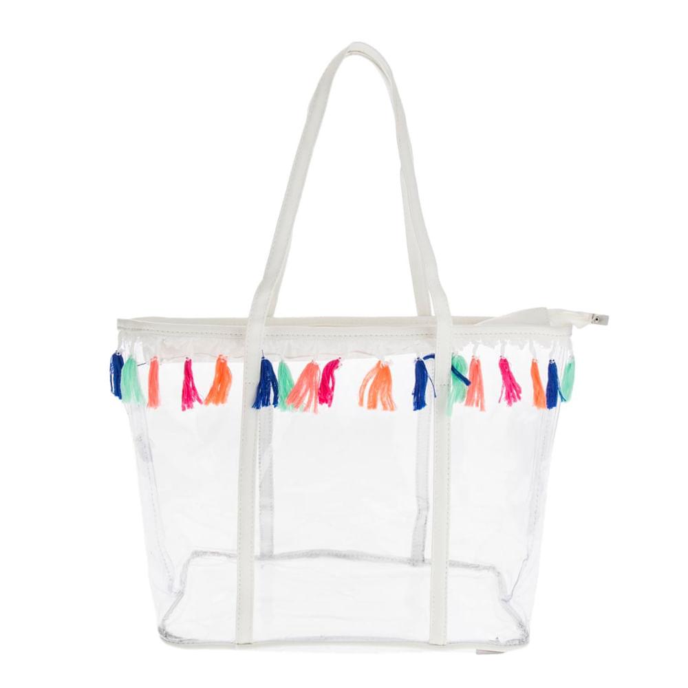 1282c2eab Bolsa Sacola Praia de Plástico Transparente com Franjas Coloridas Branco