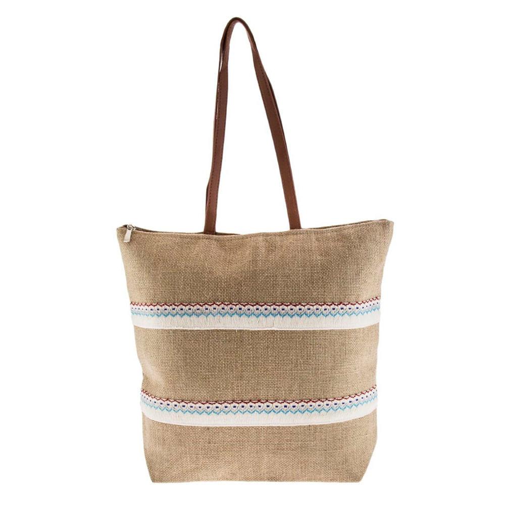 2d3d1161a Bolsa Sacola de Ombro Tecido Juta com Fita Bordada - Moda Praia Bege